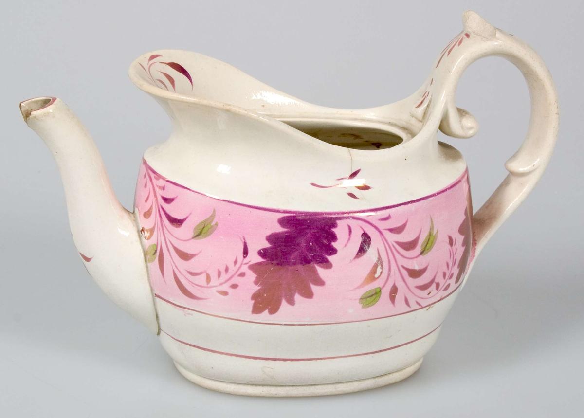 Kanna av vitglaserat flintporslin med målad dekor i rosa, lila, guld och grönt. Stämplad Rörstrand F.