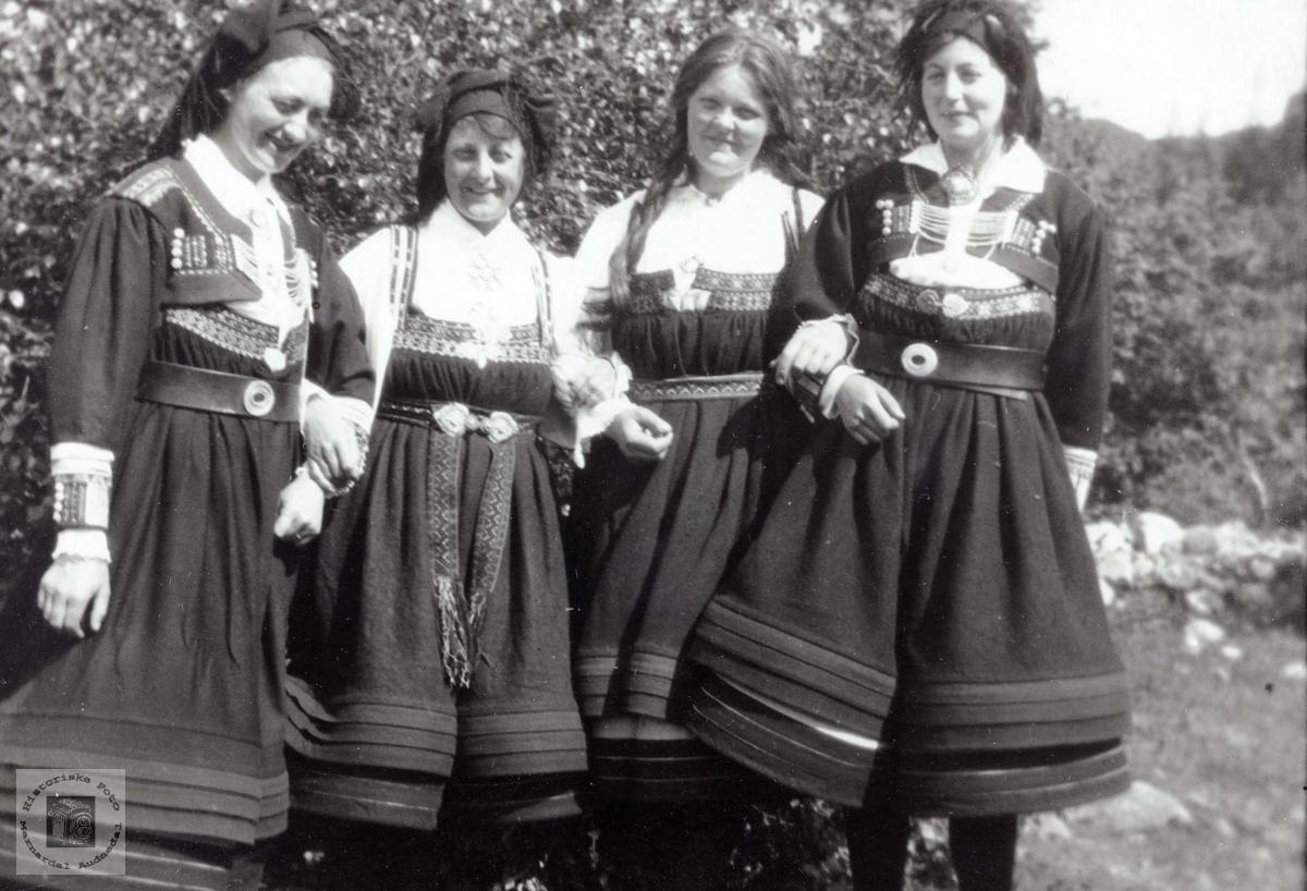 Fire flotte damer i Setesdalsbunad.