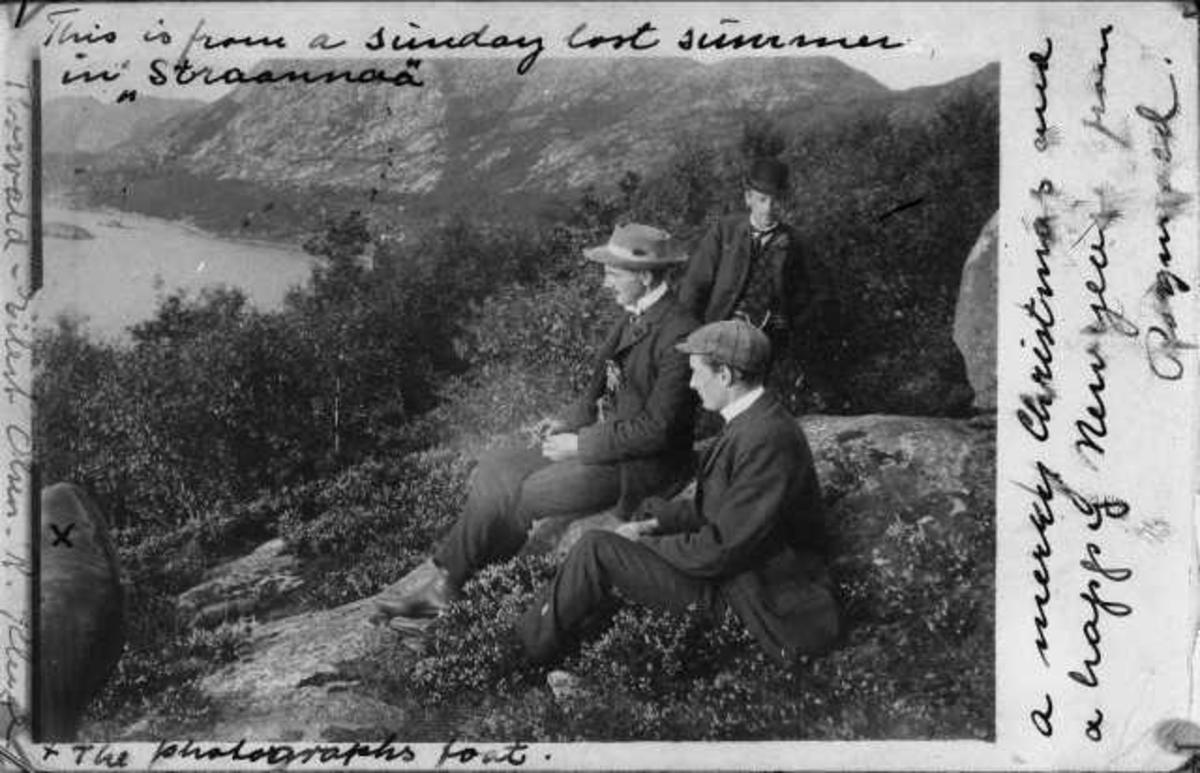 """Fra """"Straannaa"""". Torvald Olsen, Eilert Olsen og R. Kluge ser fra fjellet opp forbi """"Strondå"""" ned til Gandsfjorden. Dyrnesvika med Store Holmen og Litle Holmen i bakgrunnen. Ca. 1908"""