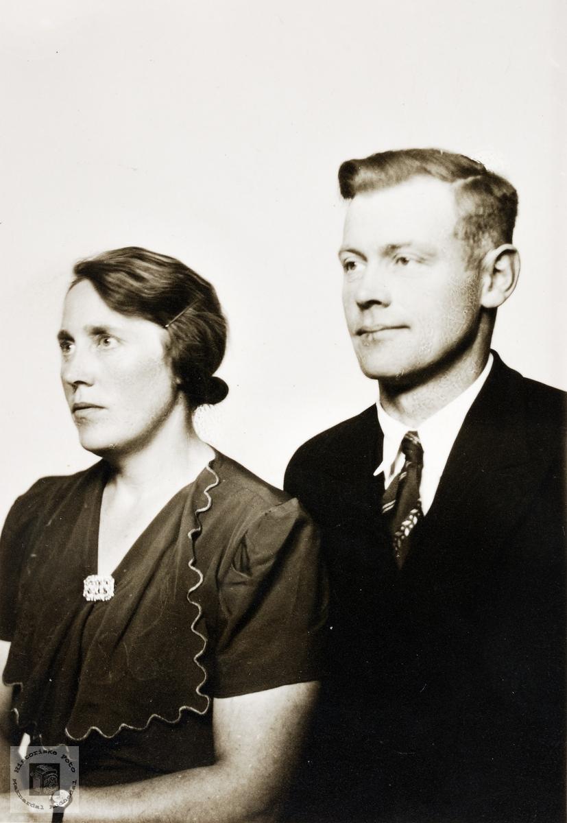 Portrett av Alma og Torleif Helle. Konsmo.