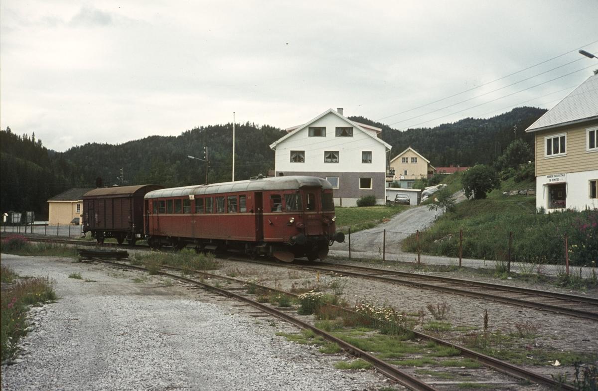 Persontog (motorvogn) fra Kongsberg kjører inn på Rødberg stasjon.