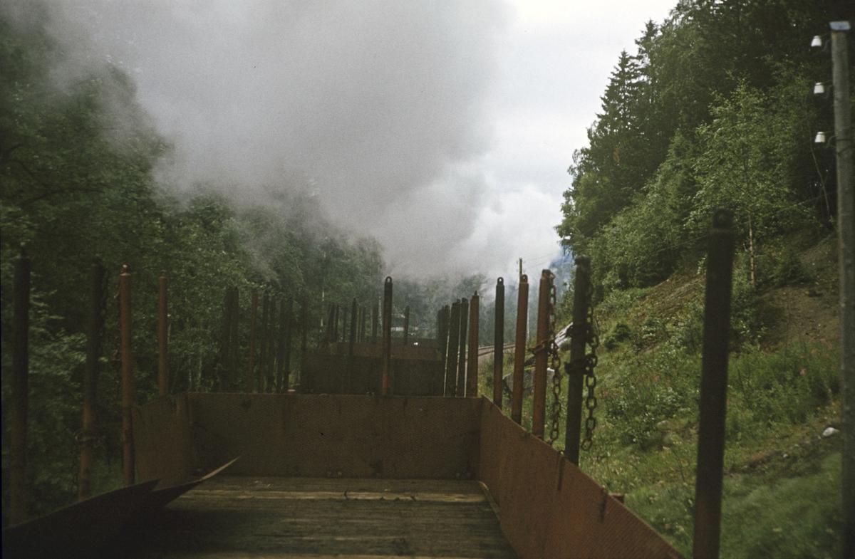 Ombord i godstog på Numedalsbanen mellom Veggli og Rødberg. Toget trekkes av damplok 21b nr. 225.