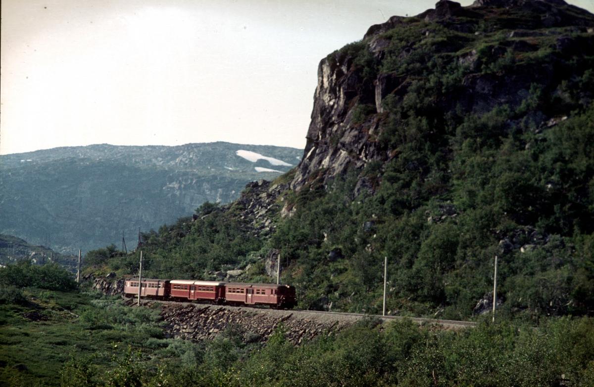 Langs Rallarvegen. Bergensbanen. Motorvognsett type 65c i tog fra Flåm til Ål.