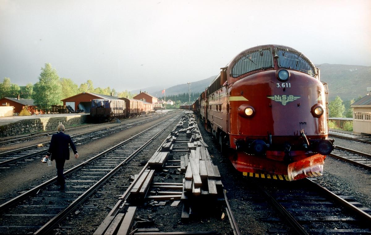 NSB godstog 5793, Trondheim - Bodø, har stoppet i Grong stasjon. Toget skal krysse sørgående daghurtigtog 452, og er overlangt (lengre enn kryssingssporet). Føreren i dagtoget måtte bremse seg helt inn til middel mot godsvognene for å få hele toget til plattform.   Lokomotivførerassistenten går for å fylle mer vann på vannflaske og kaffekjele. Tjenesten i dette toget fra Trondheim til Mosjøen var på omlag 11 timer.