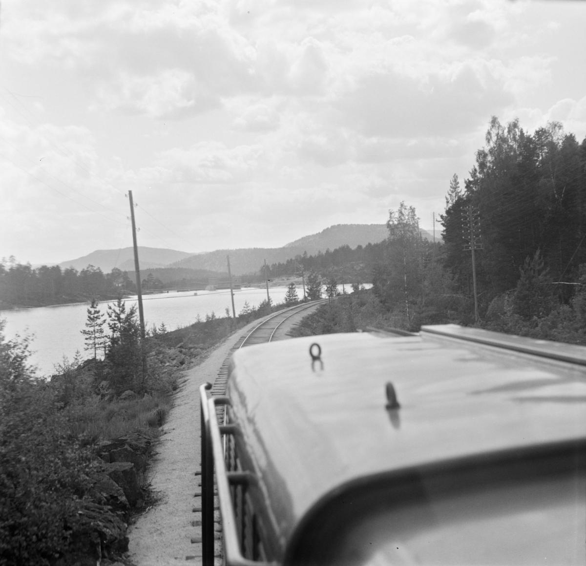 Parti langs Treungenbanen. Utsikt fra førerrommet på diesellokomotivet.