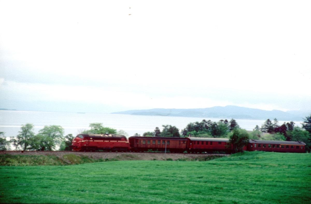 Persontog 424 fra Stockholm ved Leangen med NSB dieselelektrisk lokomotiv Di 3. De to bakerste vognene tilhører SJ.