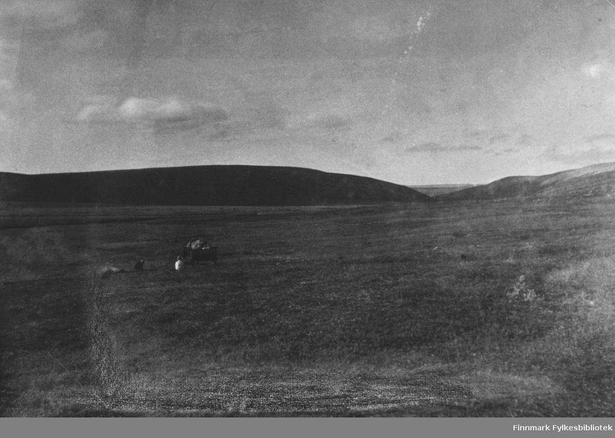 'Her er vi på moltebær tur til dinduri med hest og vogn 1930' står det bak bildet. På bildet ser vi fjellet, lengre in i bildet står en hest med vogn. To mennesker sitter på marken ved sidan av dem.