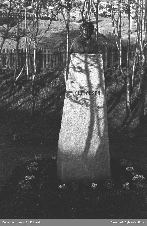 Bysten av Ole Olsen midt i sentrum av Hammerfest. Plassen/parken der den står er, selvsagt, Ole Olsens plass. Bysten er satt opp på en høy, avlang granittblokk med navnet hans hogget inn ganske høyt oppe. Det er plantet blomster på gressplenen rundt bautaen. Rett bak bautaen skrår bakken ganske bratt oppover. Trær med tynne stammer står i skråningen bak. Et firkantet område har et ganske mørkt stakittgjerde rundt. Hele området er gressdekt. Sola skinner en fin sommerdag og kaster skygger av trærne rundt på bautaen
