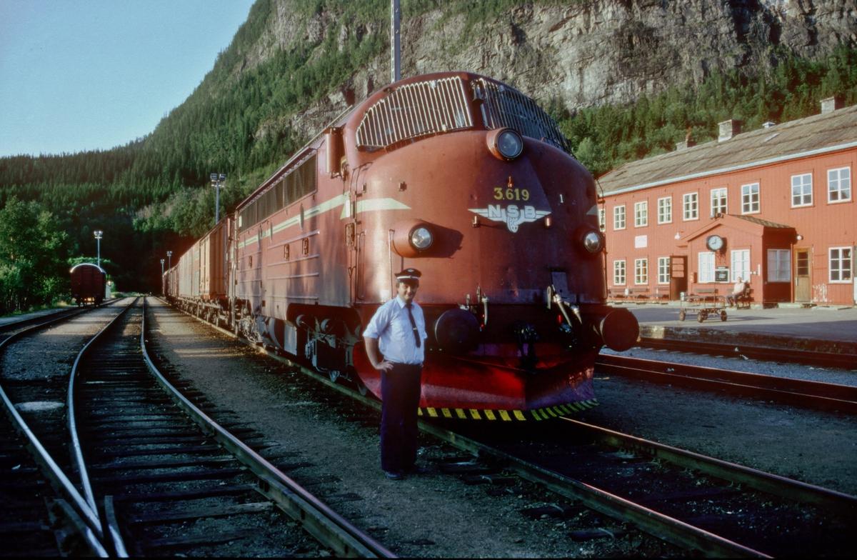 Lokomotivførerassistent Erik Borgersen foran lokomotiv Di 3 619 med godstog 5792 (Bodø - Trondheim) i Grong.