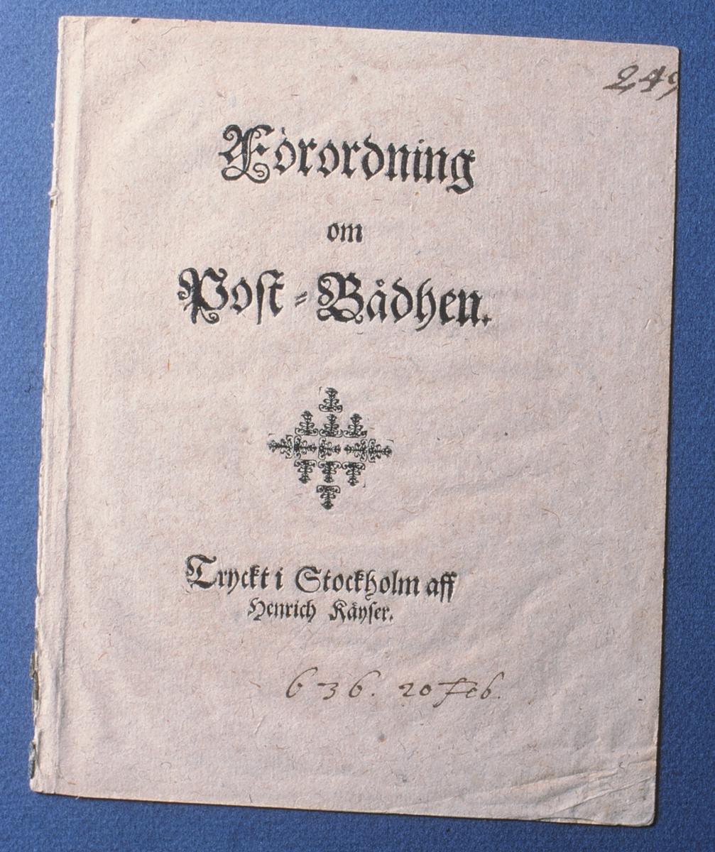 Förordning om Post-Bådhen,  det svenska postverkets stiftelseurkund, tryckt i Stockholm 1636.