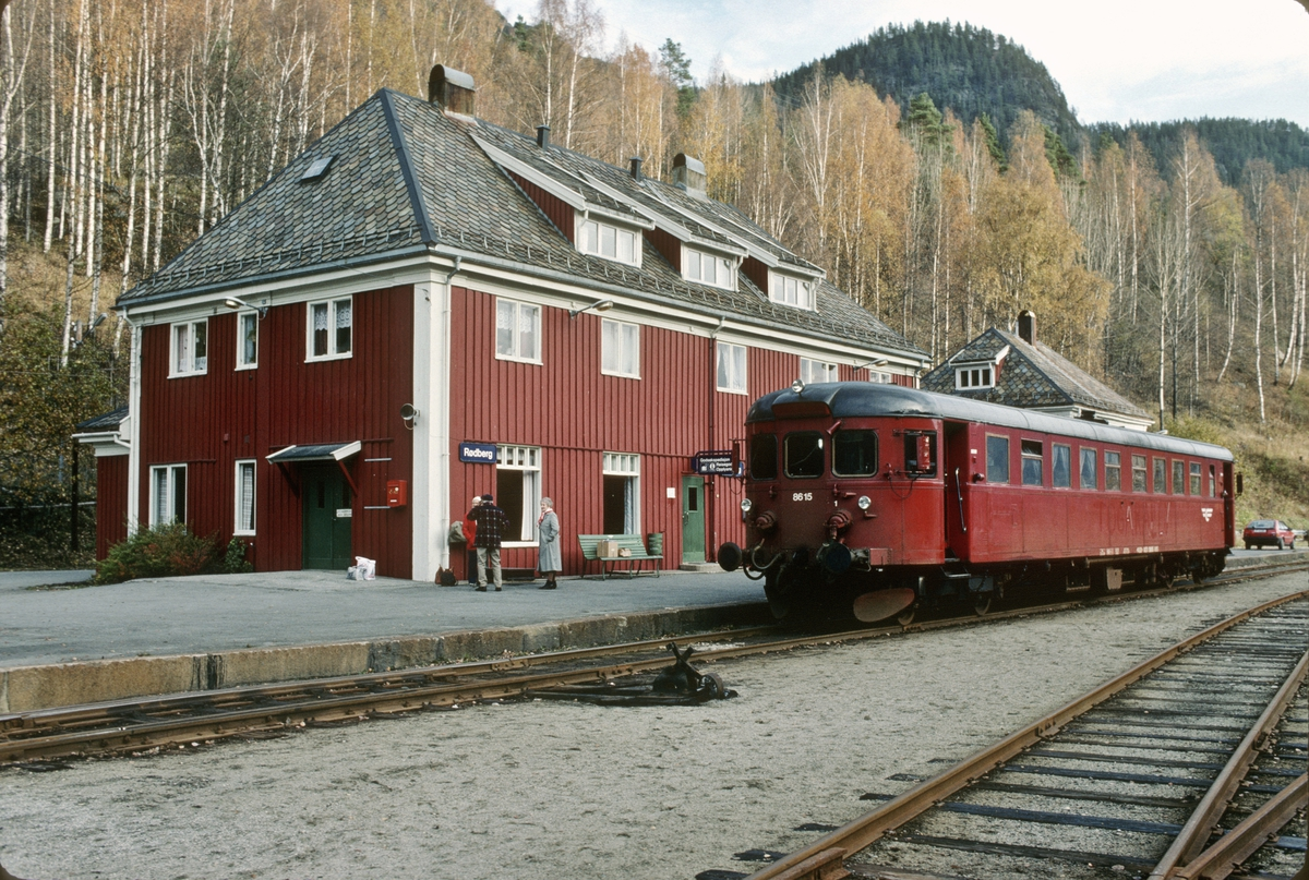 NSB dieselmotorvogn BM 86K 15 på Rødberg stasjon.