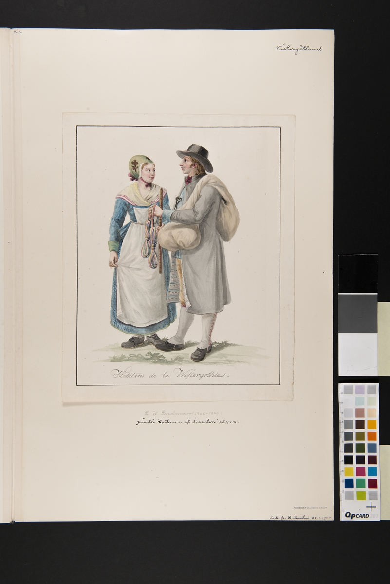 """Dräkt. """"Habitants de la Westergothie"""" En knalle och en kvinna. Akvarell i storformat av C.W Swedman"""