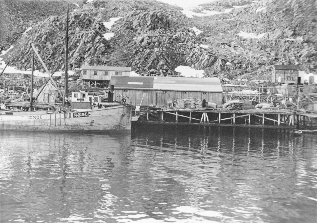 """Gjenreisningstid i Kjøllefjord, mai 1946. Fartøyet ved kaia merket med H først. I flg merkeregisteret står første bokstav for fylke og i dette tilfelle Hordaland.Bokstaven etter reg.nr. står for kommune.Her er det B. Det er ikke Bergen i dette tilfelle, for da var Bergen eget fylke. F stod for Finnmark. H214 B - m/k """"Torleif"""", Lars Innvær mfl Rubbstadneset. 98.9 fot lang med 120 hester Bolinder (Merkeregisteret for Hordaland - 1945). Litt senere hadde Kjøllefjord 50 fartøyer på over 50 fot igang. Av fjellet i bakgrunnen ser det ut til å ligge der Horstkaien og Hurtigrutekaien lå."""