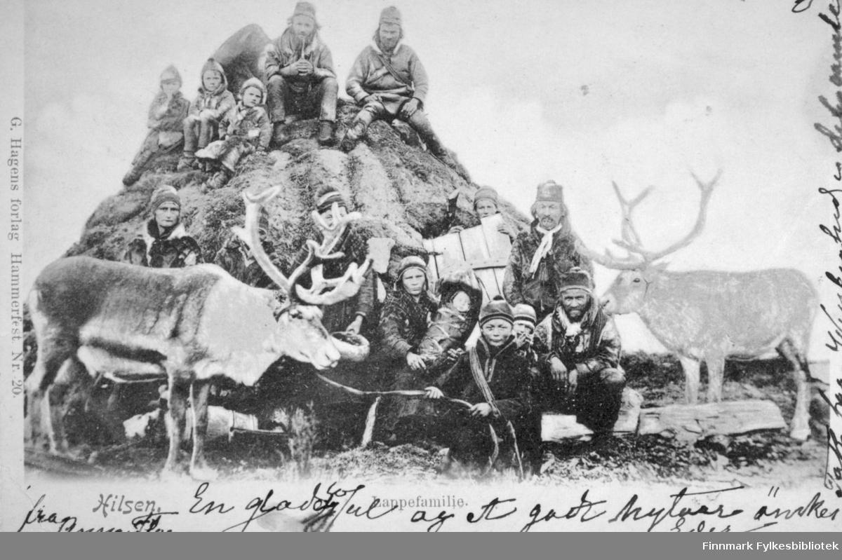 En samisk familie poserer ved og på en gamme. Denne familien flyttet til Kvaløya utenfor Tromsø på sommeren og reiste til Karesuando i Sverige på vinteren. Bildet er tatt i 1880-90-årene. To menn og tre barn sitter på toppen av gammen. Ni personer sitter foran gammen. Flere barn, deriblant et spedbarn, sitter midt på bildet. To reinsdyr med horn står på hver side av bildet. Alle sammen har hodeplagg på og de fleste har også pesk. Spedbarnet er innpakket og en ung dame holder barnet i fanget. Den unge gutten helt foran på bildet har en lasso hengt over skuldrene. Det er gress/lyng på bakken foran på bildet og det er mye skyer på himmelen.