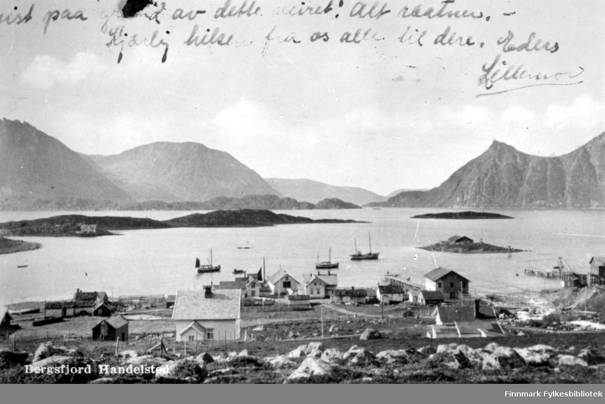 Bergsfjord en lettskyet sommerdag. Et lyst hus med skiferdekke på taket nærmest kamera. Til venstre for det, står en liten bygning og et hus står til høyre på bildet. Flere bygninger står i strandkanten og to trekaier stikker ut i sjøen. Flere båter ligger fortøyd på havna, en av dem med mesanet heist. Utpå fjorden ses flere holmer, bl.a Skjåholmen til høyre og Langholmen til venstre på bildet. En bygning står på landsiden av Langholmen. Høye fjell i bakgrunnen, med Bukkeskinnfjell og Storfjellet til høyre på bildet og Svartberget til venstre.