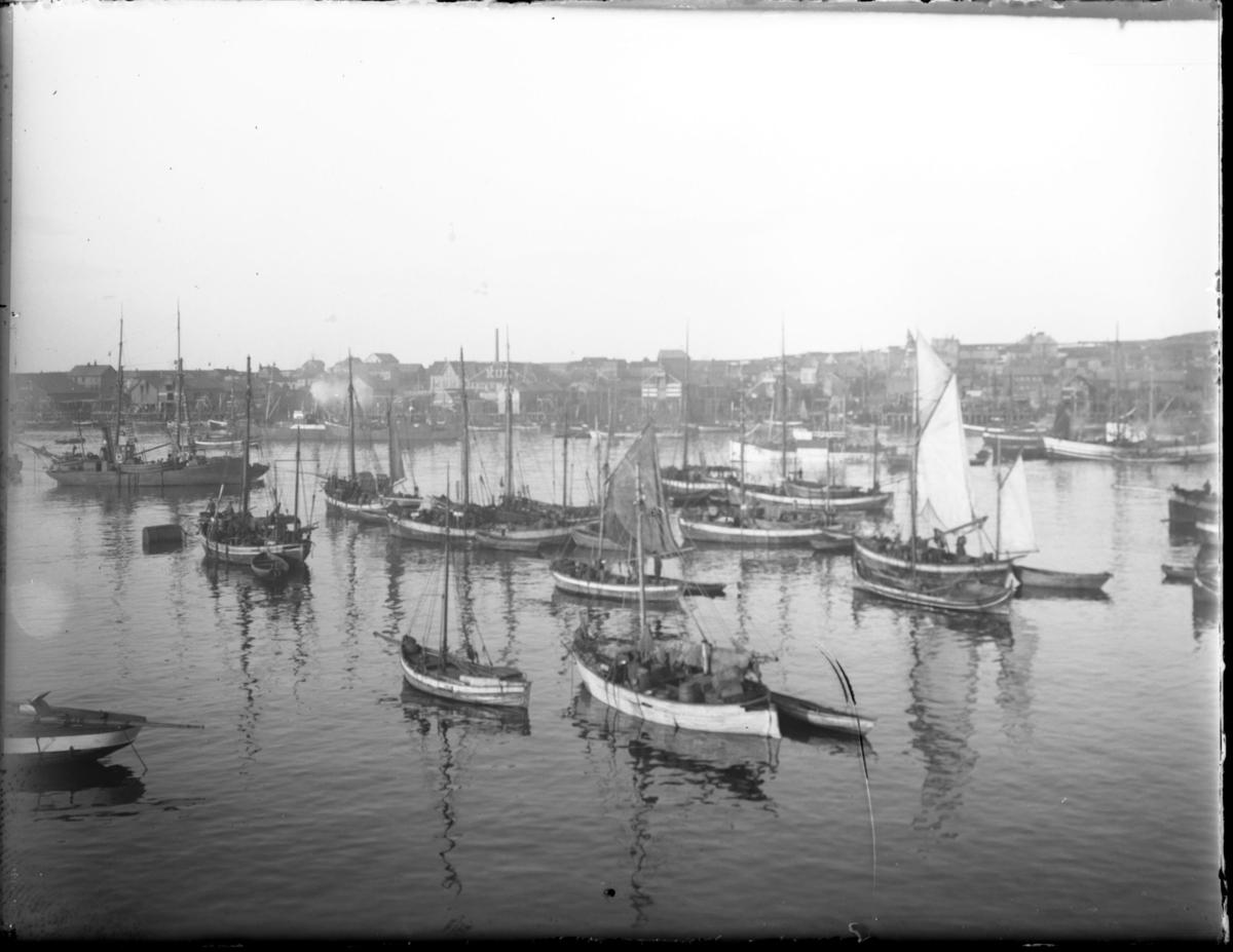 Nordre våg sett fra Brodtkorbkaia. Mange fiskebåter og nordlandsbåter ved havn. Bildet utgjør et panoramabilde sammen med bildene 83002-101, 83002-099 og 83002-100.