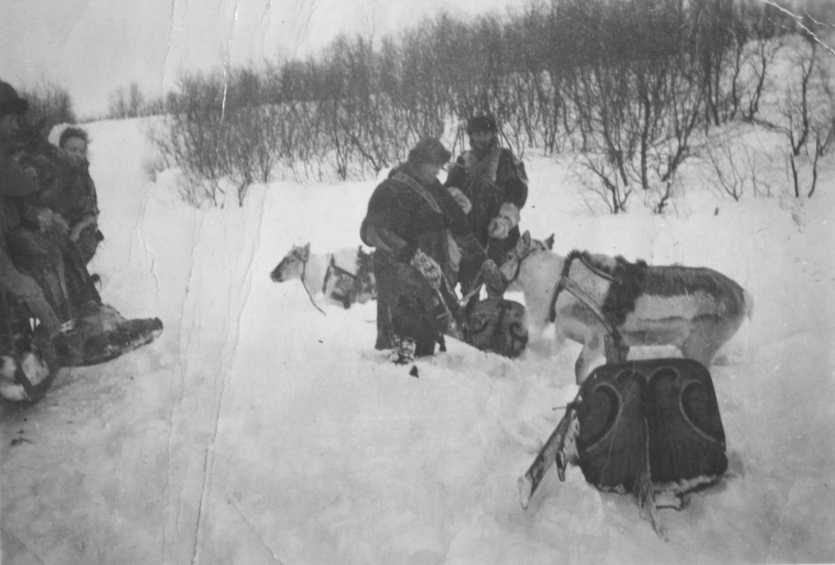 """""""Reinskyss var nokså vanlig før krigen. Her har de stoppet utenfor hos Alfred Aronsen i Luftjok."""""""