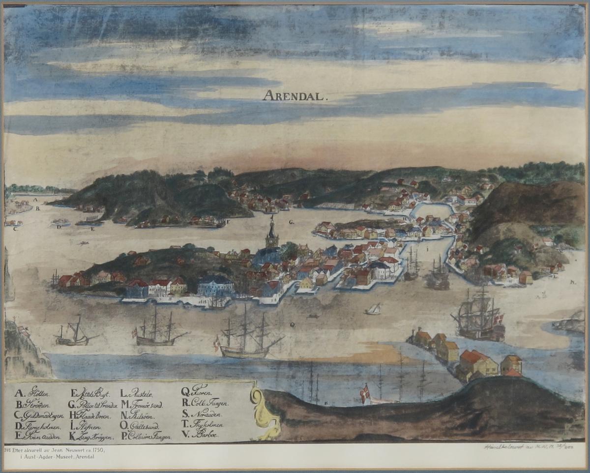 Prospekt av Arendal ca. 1750, tatt fra Kolbjørnsviktangen, halvt i fugleperspektiv, gir godt bilde av byen og bebyggelsen. På himmelen over byen skrevet: ARENDAL.
