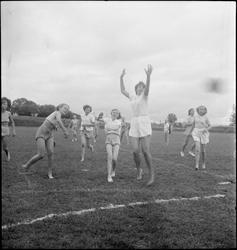 Jenter fra Korsør i Danmark spiller håndball på en idrettsba