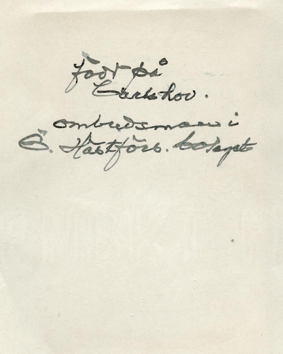 Porträtt av greve Fredrik Sinclair. Född 1853 vid Karlshovs säteri i Älvestad som yngste son och mellanbarn till greve Israel Malcolm Sinclair och grevinnan Alfhild Spens. I vuxenålder flyttade han till Västerås för att ägna sig åt mejeriverksamhet i ett flertal företag likväl som han var ombudsman vid Västmanlands läns hagelskadebolag. Sinclair förblev ogift och avled i Västerås den 4 april 1904 av hjärtsjukdom. Han begravdes på Linköpings griftegård.