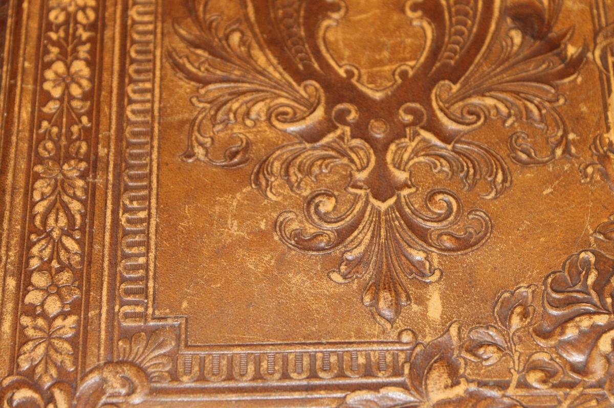 Utvendig: våpenskjold med fleur de li og blader, sløyfe. Flere border. Pseudo renessanse. Innvendig: geometriske/stiliserte ornamenter i gull på lys bunn.      Innstikklommer for fotografier med gullkantstikk.
