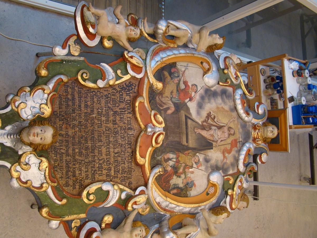 Bankeryds kyrka, Jönköpings kommun. Epitafium, fiskal Elias Alegren.
