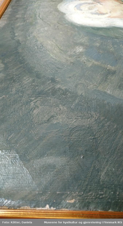 Oljemaleri på lerret. Spikret på et blindramme som er satt i en pryderamme. Tverrgånde wire som oppheng.