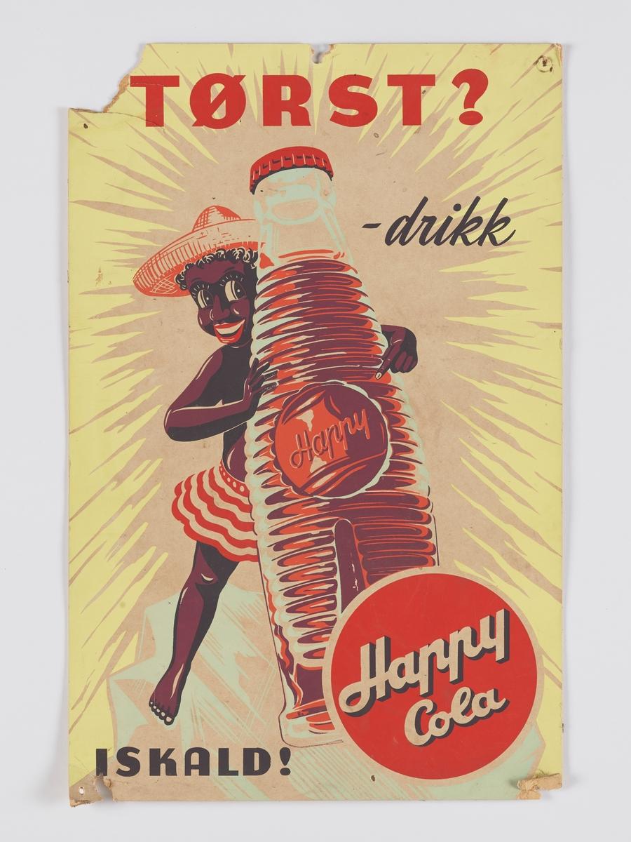 """En glad og fornøyd """"neger"""" ( her er det riktig å si neger, da tegninga er meget politisk ukorrekt og dessuten rasistisk, så det så!!!). Han eller hun har på seg et stripete skjørt, og omfavner en stor flaske med """"Happy Cola"""". Personen har forøvrig på seg en riktig smart og kledelig stråhatt!"""