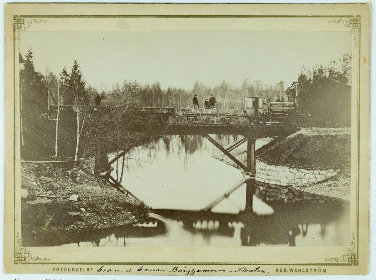 Bergslagsbanan. Bron vid banan Bånghammar - Kloten. Järnvägen Bånghammar - Kloten anlades åren 1874-1876. Fotot taget ca 1875.