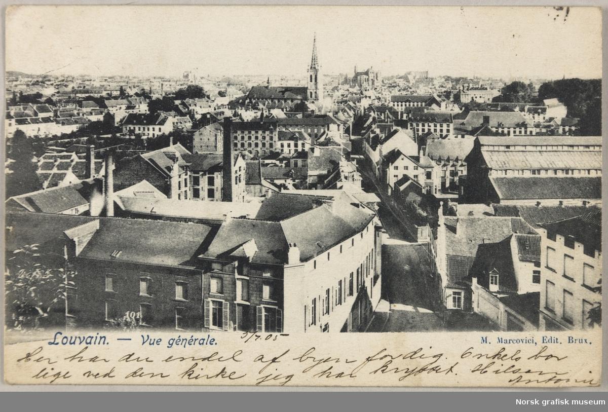 Postkort fra Antonie til Olava Lunde. Kortet viser byen Leuven i Belgia.