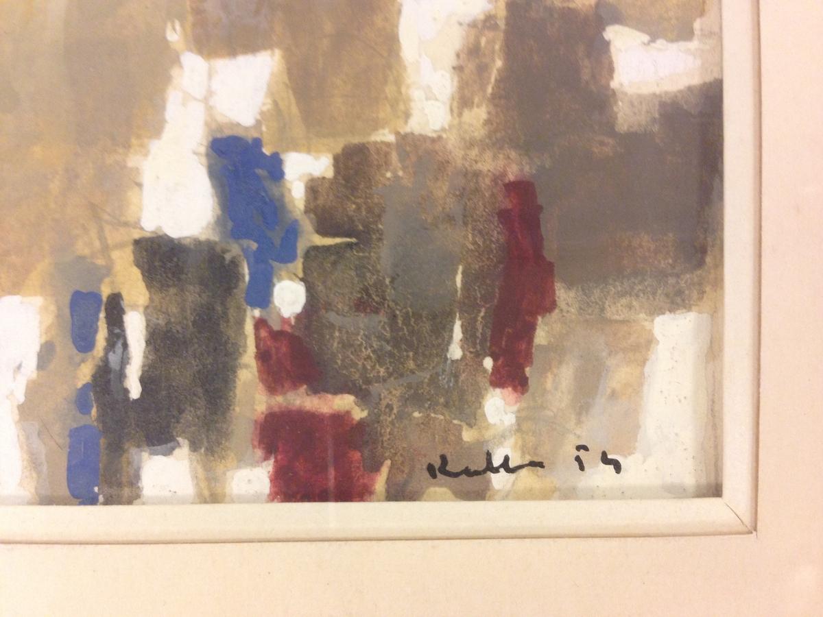 Gouache av konstnären Paul Kallos, född i Ungern, internerad i Auschwitz, återvände till Ungern för utbildning till konstnär. Politisk flykting ca 1950 till Paris, blev fransk medborgare 1974.