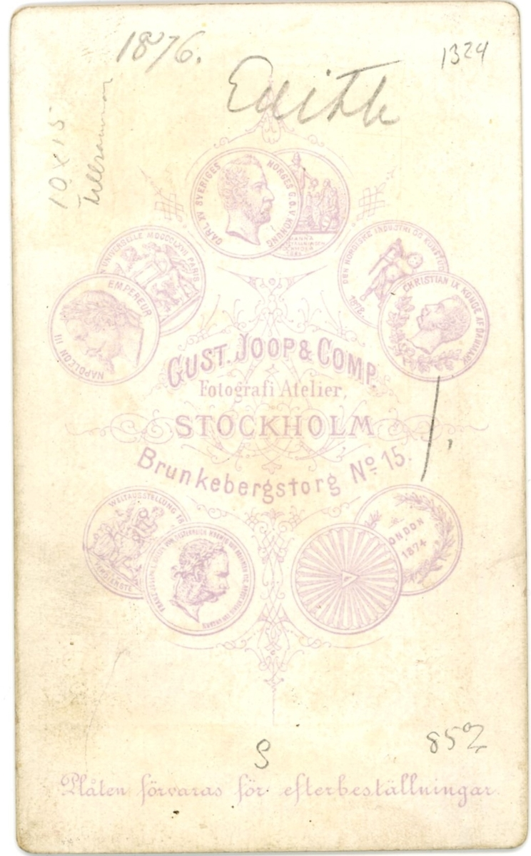 Edith Hammarstedt 1876, åtta år gammal