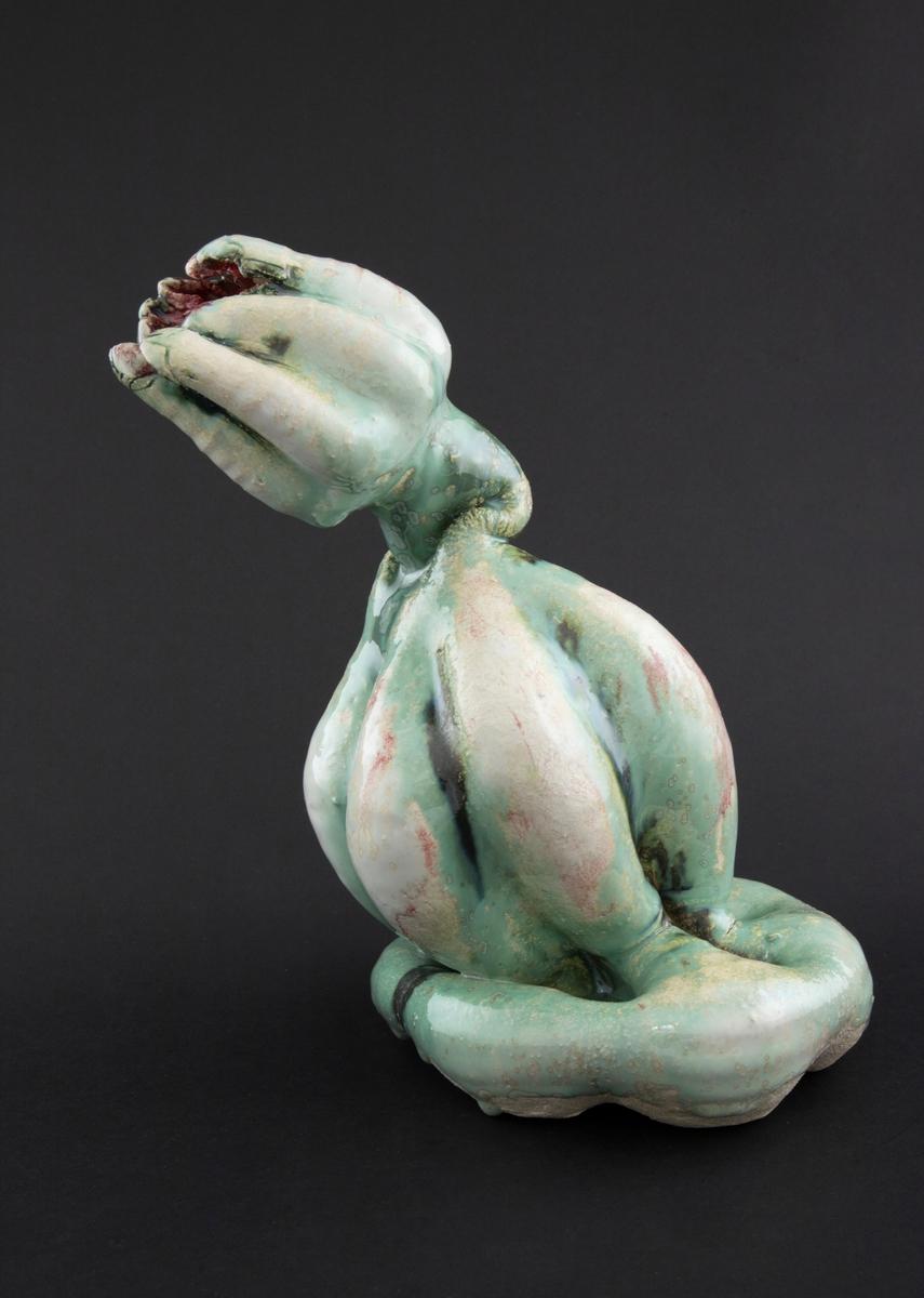 Håndmodellert skulptur i glasert steingods med henslengt kropp. Den har en organisk og asymmetrisk kalebassform som ender i en tulipanform med halvåpne kronblader. Keramikkskulpturen inngår i en installasjon bestående av 26 deler i ulike størrelser og med individuell utforming. De asymmetriske variasjonene gir et inntrykk av bevegelse, og den lett sykelige fargepaletten gir et uhyggelig og grotesk preg. Samtlige deler minner om kjøttetende planter.