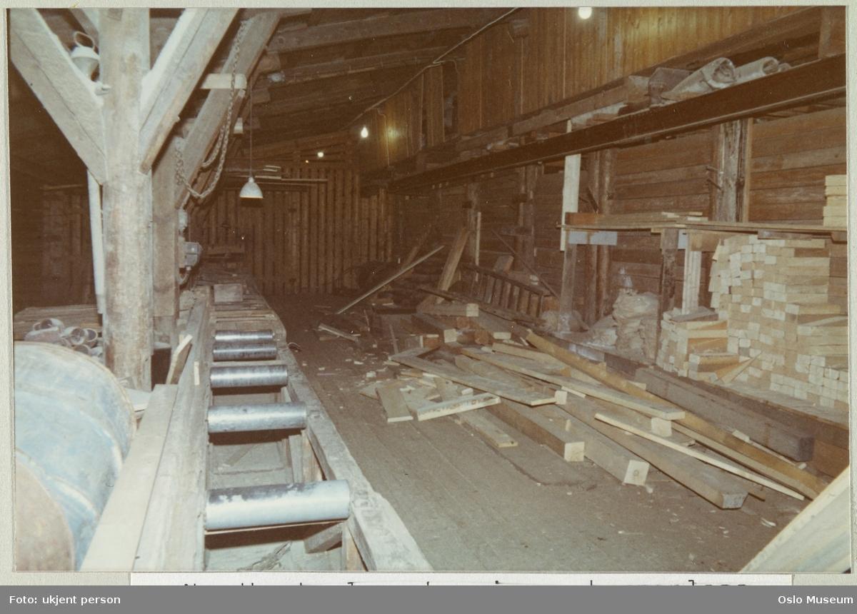 Nylands Verksted, nordtomt, lagerbygning, interiør, kappeplass for trematerialer