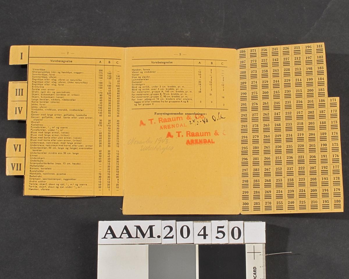 Bekledningskort for kvinner  Okergult kartongpapir.  Gjeldende fra og med l. april 1942 til 1. okt. 1943.   Arendal Forsyningsnemnd  (stempel) endel klipp avklippet.