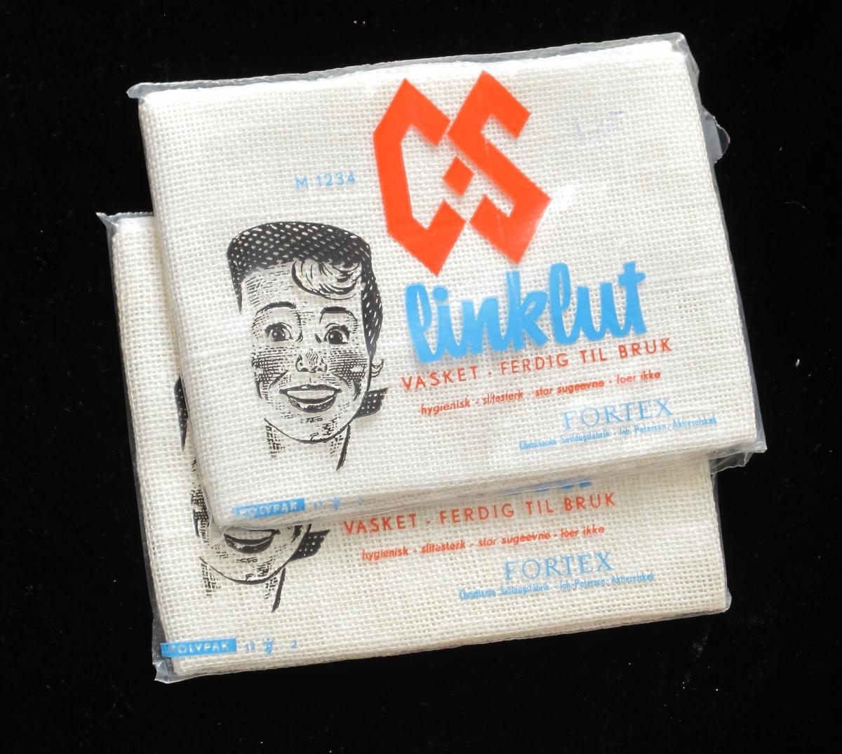 Vaskeklut, eller oppvaskklut, av lin, i originalpakning. Ubrukt, fabrikkny.  Pakket i plast.