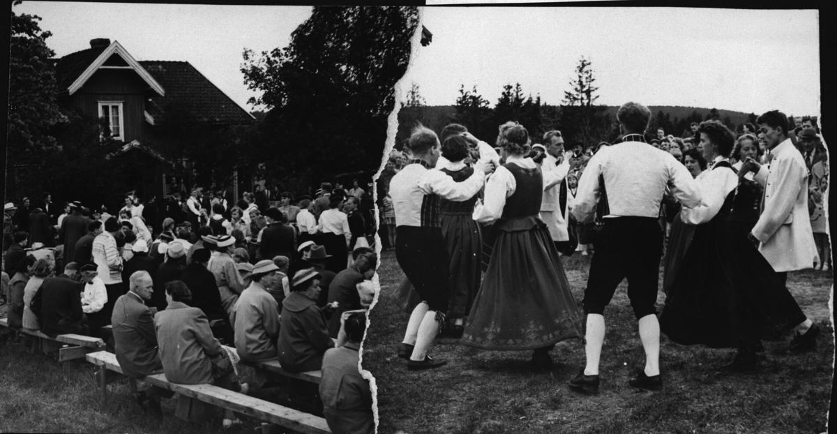 Historie-stevne på Nordby gård,folk er samlet på benker ute.