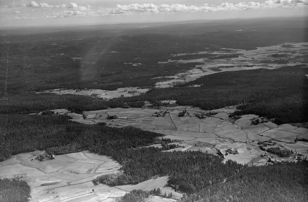 AURSKOG  LANDSKAP Nede til høyre Åsnes og Lokshaug skole Midt i bilde tre Røsholmgårder nederst til venstre Ødegård Tangen i bakgrunnen