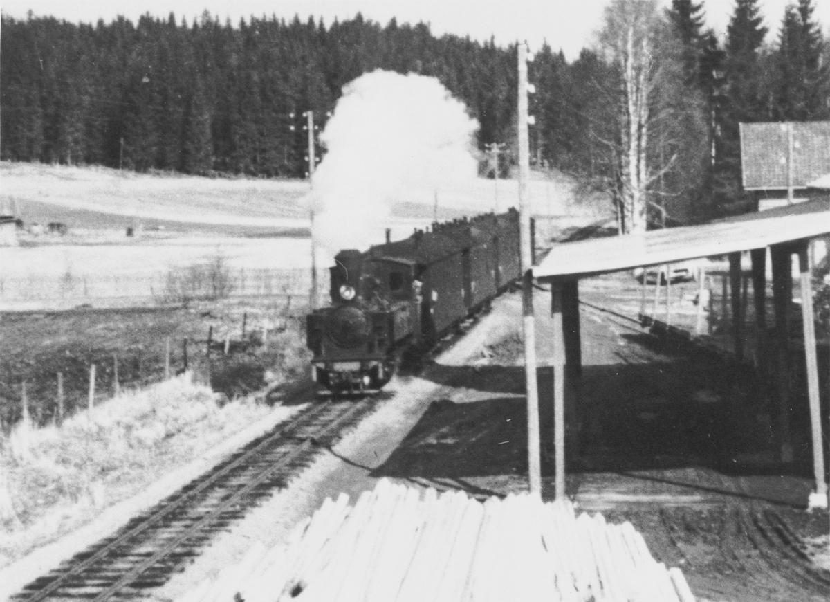 Persontog retning Skulerud passerer Liermosen.
