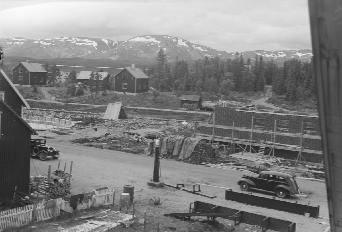 Majavatn med lokomotivstall under bygging