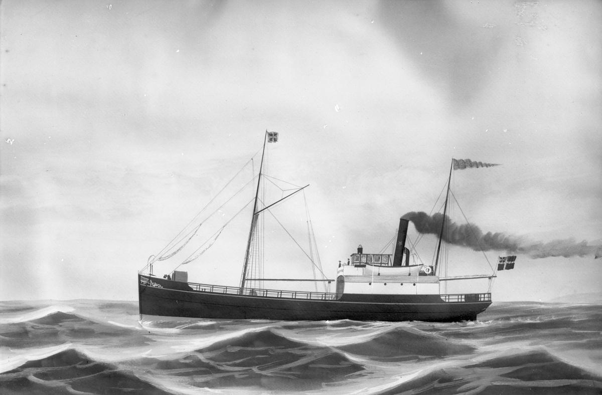 """Avfotografert maleri av Dampskipet D/S """"Gustaf"""" i åpent farvann, med en land til høyre i bakgrunnen."""