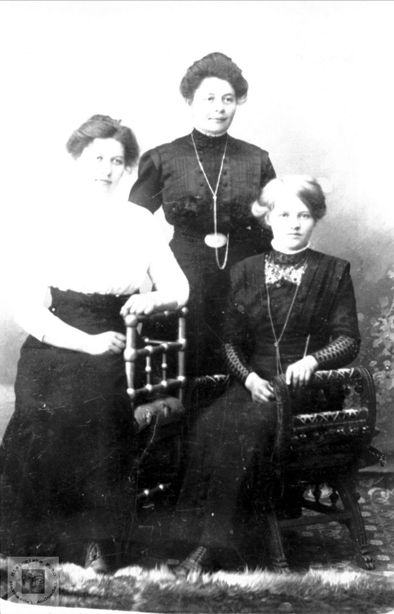 Portrett av tre unge damer trolig fra Bjellandsområdet.