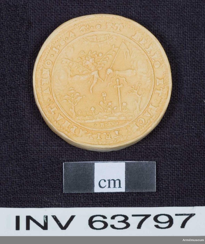"""Grupp M. Medalj av 13. storleken. Freden vid Brömsebro den 13 augusti 1645. Medaljen är av brungjort tenn. Kring kanten på båda sidor en fin ornamentsrand.  ÅTSIDAN: """"*.:CHRISTINA D:G:SVE:GOT:VAN:Q:REGINA & PRINC: HAE:M: D: F:.*"""" Bröstbild, nästan framvänd, i prydlig dräkt med stålkrona på nacken. Om halsen ett enkelt pärlband, på bröstet ett smycke. Omgiven av två med lager omlindade palmkvistar, upptill samman- hållna av en lagerkrans.  FRÅNSIDAN: """"*ET BELLO ET.PACE.TRIVMPHAT:.ANNO 1.6.4.5:."""" Två händer sträcks fram från skyar ur motsatta sidor. Den ena handen håller ett ymnighetshorn fullt av blommor och frukter ochh två olivkvistar. Den andra håller en stång med en kluven flagga och har vid armleden ett svärd fastbundet. På marken träd och örter. Överst tecken (hebreiska? Se bilaga.) inom en strålande båge. I avskärningen """"H.W."""""""