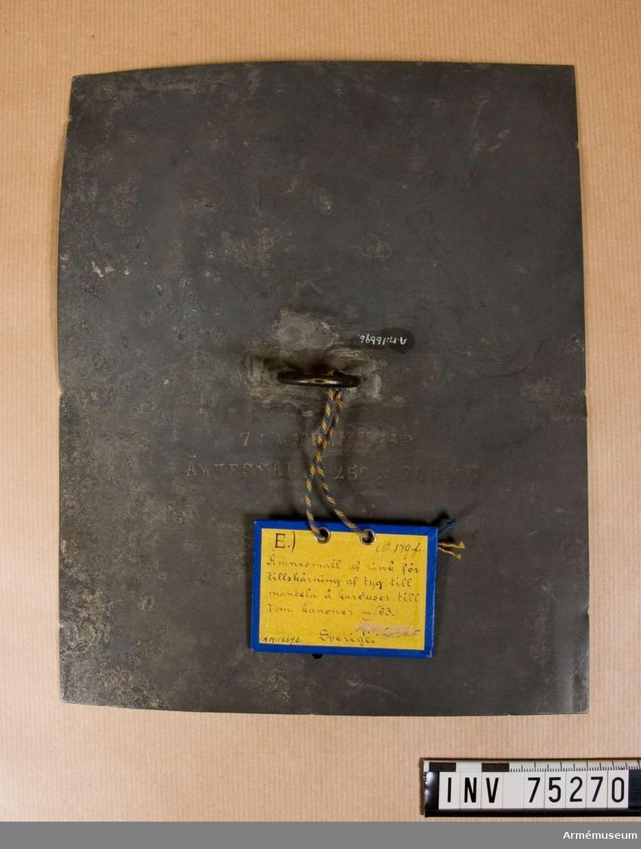 Grupp F.V.  För tillskärning av tyg till manteln för 7 cm framladdningskanon m/1863.