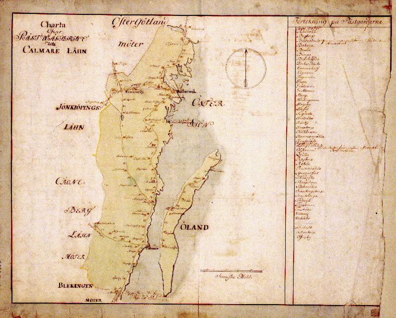 Postkarta över postvägarna i Kalmar län, Småland, under 1700-talets mitt. Kartan visar endast Kalmar län, de angränsande länen namnges endast vid sidan om. En förteckning över postgårdar finns till höger. Kartan är ritad och kolorerad för hand.