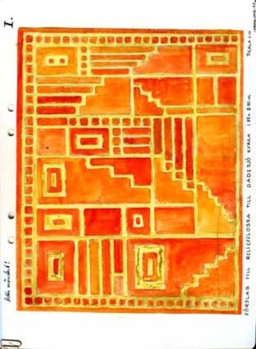 """Åtta skisser med förslag till reliefflossa till Dädesjö kyrka.GHKL 4027:1 Förslag till reliefflossa till Dädesjö kyrka 1,85 x 2,40 m. Skisstorlek ca 18,5 x 24 cm, skala 1:10GHKL 4027:2 Förslag till reliefflossa till Dädesjö kyrka 1,85 x 2,40 m. Skisstorlek ca 18,5 x 24 cm, skala 1:10GHKL 4027:3 Förslag till reliefflossa till Dädesjö kyrka 1,85 x 2,40 m. Skisstorlek ca 18,5 x 24 cm, skala 1:10GHKL 4027:4Förslag till reliefflossa till Dädesjö kyrka 1,50 x 2,20 m. Skisstorlek ca 15 x 22 cm, skala 1:10Flera anteckningar om färgvalet finns på skissen.GHKL 4027:5Förslag till reliefflossa till Dädesjö kyrka 1,85 x 2,40 m. Skisstorlek ca 18,5 x 24 cm, skala 1:10GHKL 4027:6Förslag till reliefflossa till Dädesjö kyrka 1,85 x 2,40 m. Skisstorlek ca 18,5 x 24 cm, skala 1:10På skissen är antecknat """"Detta mönstret!"""", eventuellt har den här mattan blivit uppvävd.GHKL 4027:7Förslag till reliefflossa till Dädesjö kyrka (1,85 x 2,40 m). Skisstorlek ca 18,5 x 24 cm, skala 1:10.På skissen är antecknat 1,50 x 2,20, lätt att minska denna skiss.GHKL 4027:8Förslag till reliefflossa till Dädesjö kyrka 1,85 x 2,40 m. Skisstorlek ca 18,5 x 24 cm, skala 1:10BAKGRUNDHemslöjden i Kronobergs län är en ideell förening bildad 1990. Den ideella föreningen ersatte Kronobergs läns hemslöjdsförening bildad 1915.Kronobergs läns hemslöjdsförening hade butiksverksamhet och en vävateljé med anställda väverskor och formgivare där man vävde på beställning till offentliga miljöer, privatpersoner och till olika utställningar.Hemslöjden i Kronobergs län har idag ett arkiv med drygt 3000 föremål, mönster och skisser från verksamheten och från länet. 1950-talet var de stora beställningarnas tid och många skisser och mattor till kyrkorna kom till under detta årtionde."""