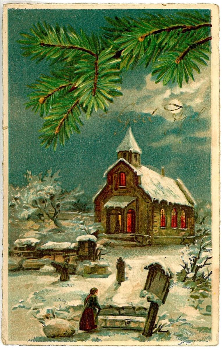 Avfotografert julekort som ble sendt fra Oslo til Vadsø.
