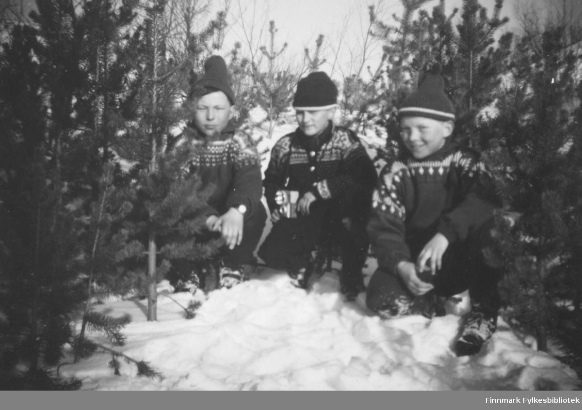 Tre gutter på tur i skogen. De er Torbjørn Nymo, Bjørn Malin og Kjell Nymo. Stedet er ukjent.