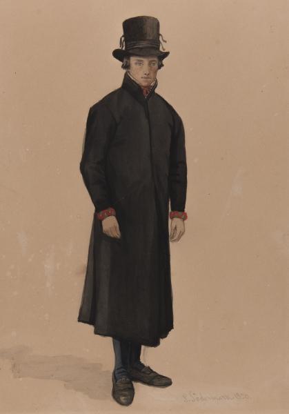 Man i svart rock. Akvarell av P Södermark 1850