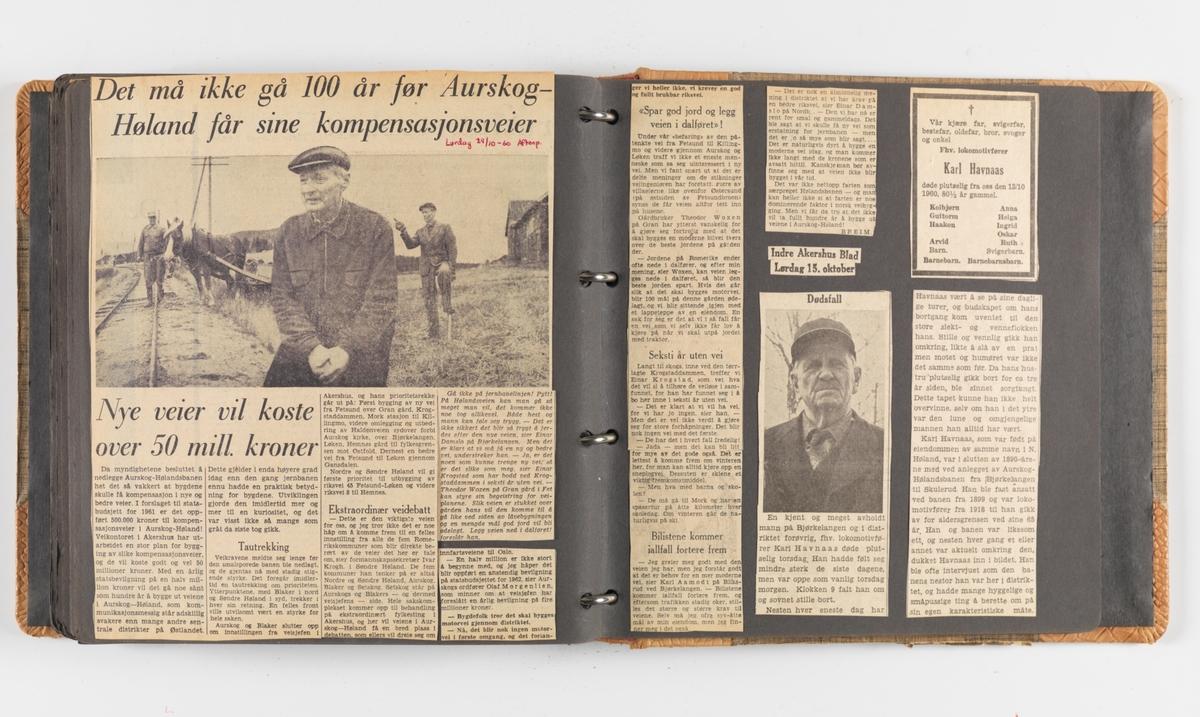 Trygve Panhoffs foto- og avisutklippsalbum fra Tertitten / Urskog-Hølandsbanen fra 1956-1960.
